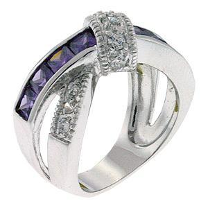 DESIGNER CZ RING - Amethyst Purple & White CZ Ring - SIZE 6 OR OTHER SIZES image 2