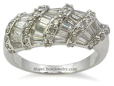 Gorgeous Fancy Baguette Cubic Zirconia Right Hand Ring - SIZE 7, 8 AND 9
