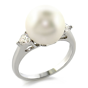 12mm White Pearl with 2 Cubic Zirconia Ring - SIZE 6, 7 (LAST ONES)