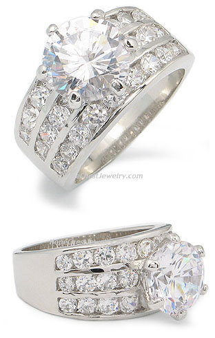 3.5 CTS Round Cut Cubic Zirconia Engagement Ring - SIZE 7, 8, 10
