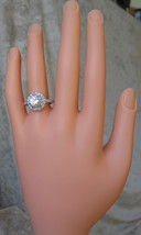 Round CZ Solitaire with Small CZ Engagement Ring - SIZE 6,8,9 image 2