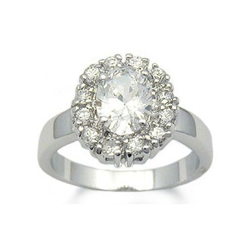 Oval Shape Silver Tone Cubic Zirconia Engagement Ring - SIZE 6 (last one)