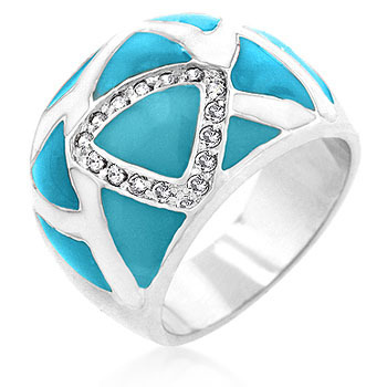 CLEARANCE - Silver Tone Blue and White Enamel Cubic Zirconia Ring - SIZE 5