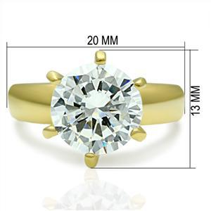 IP Gold Plated 3.50 Carat Solitaire Cubic Zirconia Engagement Ring - SIZE 5 - 10
