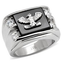 Stainless Steel Genuine Semi-Precious Onyx Eagle Ring for Men SIZE 8 - 13 image 2