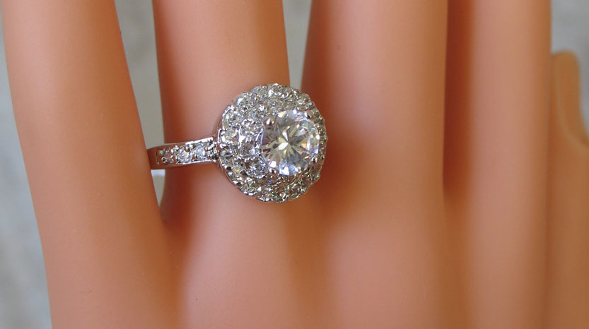 Round CZ Solitaire with Small CZ Engagement Ring - SIZE 6,8,9 image 4
