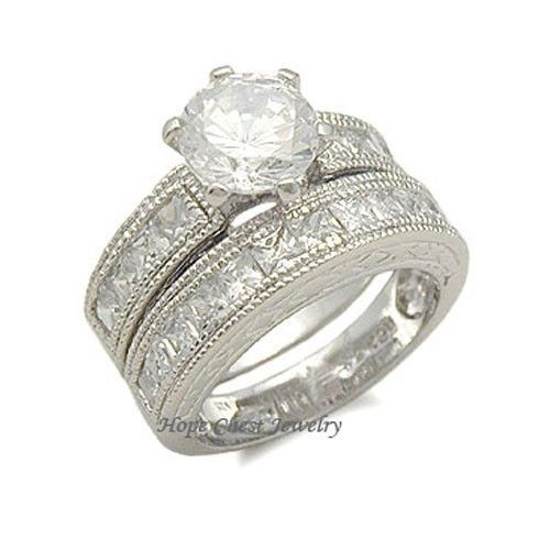 STERLING SILVER Antique Style CZ Engagement & Wedding Ring Set - SIZE 5 (LAST 1)
