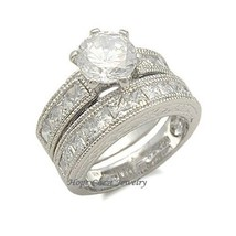 STERLING SILVER Antique Style CZ Engagement & Wedding Ring Set - SIZE 5 (LAST 1) image 1
