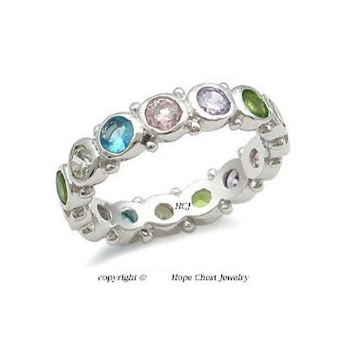 Multiple Color Bezel Setting Cubic Zirconia Band Ring - SIZE 6 (LAST ONE)