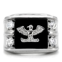 Stainless Steel Genuine Semi-Precious Onyx Eagle Ring for Men SIZE 8 - 13 image 3