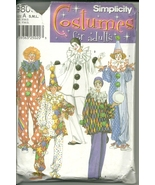Simplicity Sewing Pattern 9800 Mens Womens Costume Clown Sizes S M L New - $9.98