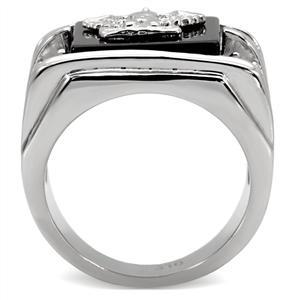 Stainless Steel Genuine Semi-Precious Onyx Eagle Ring for Men SIZE 8 - 13 image 4
