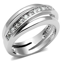 Silver Tone Journey Channel Setting Cubic Zirconia Band Ring - SIZE 5 TO 9 image 2