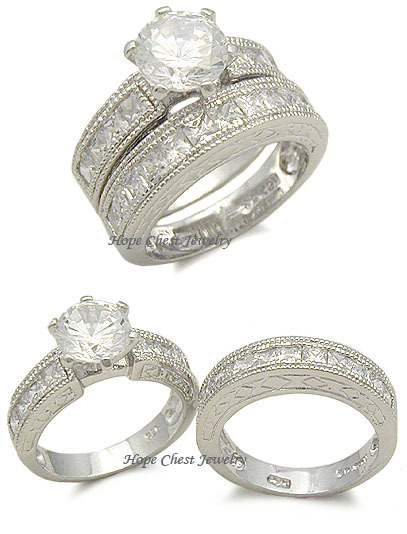 STERLING SILVER Antique Style CZ Engagement & Wedding Ring Set - SIZE 5 (LAST 1) image 2