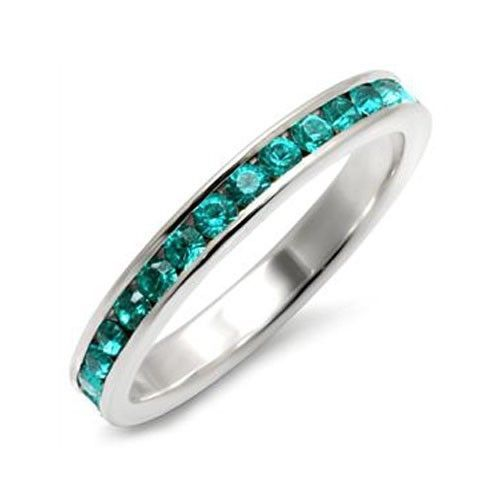 Sterling Silver March Birthstone Aquamarine Crystal Band Ring - SIZE 5 (LAST 1)
