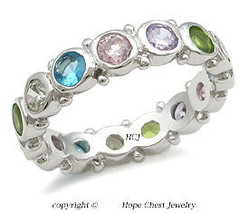 Multiple Color Bezel Setting Cubic Zirconia Band Ring - SIZE 6 (LAST ONE) image 2