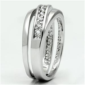 Silver Tone Journey Channel Setting Cubic Zirconia Band Ring - SIZE 5 TO 9 image 3