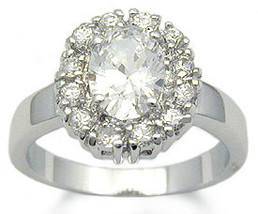 Oval Shape Silver Tone Cubic Zirconia Engagement Ring - SIZE 6 (last one) image 2
