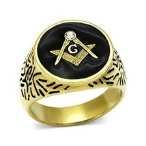 Gold Tone Stainless Steel Machine Engraved Crystal Men's Masonic Ring - SIZE 8 image 1