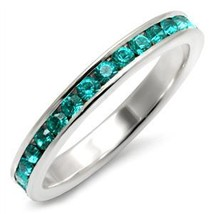 Sterling Silver March Birthstone Aquamarine Crystal Band Ring - SIZE 5 (LAST 1) image 2