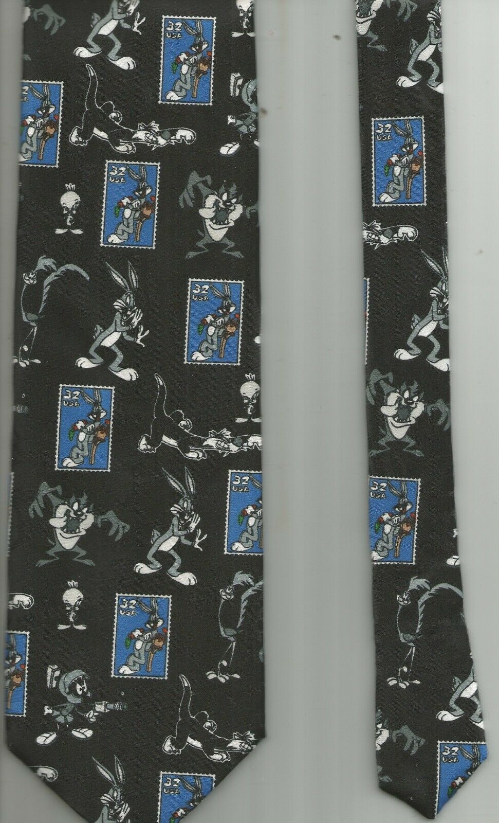 Primary image for Warner Bros. LOONEY TUNES Stamp Collection 1997 necktie tie Bugs Bunny Sylvester