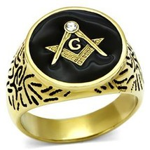 Gold Tone Stainless Steel Machine Engraved Crystal Men's Masonic Ring - SIZE 8 image 2