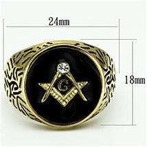 Gold Tone Stainless Steel Machine Engraved Crystal Men's Masonic Ring - SIZE 8 image 3