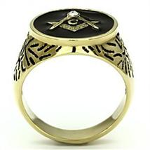 Gold Tone Stainless Steel Machine Engraved Crystal Men's Masonic Ring - SIZE 8 image 5