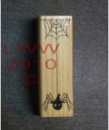 Wood-mounted Spider web with Witch hat Rubber Stamp - $3.95
