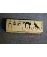 Wood-mounted Halloween ghost black cat skull Rubber Stamp - $3.95