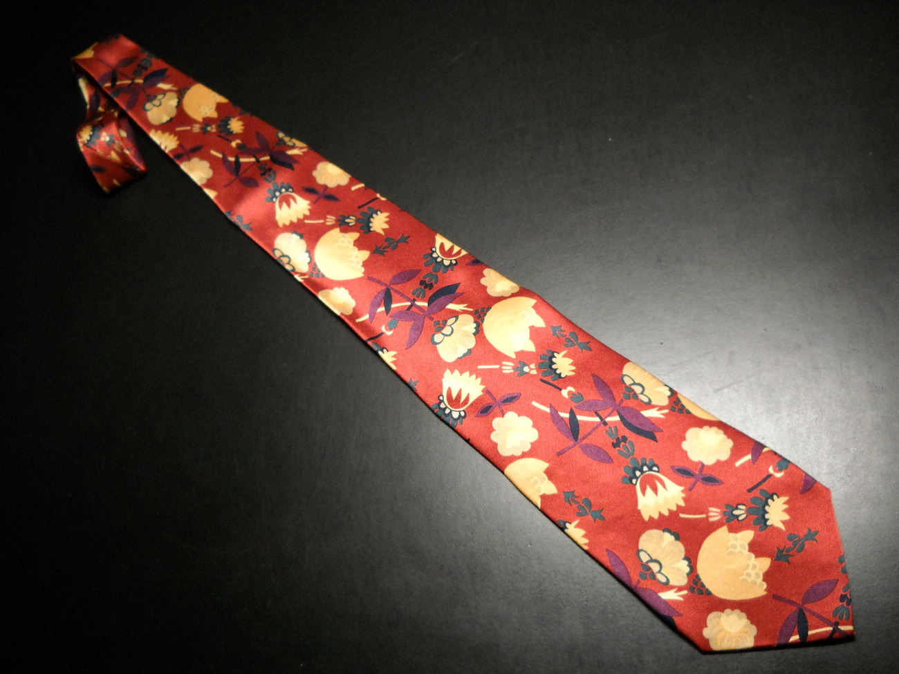 AKM Neck Tie Hand Made in Italy Silk Rusty Reds and Gold Flowers AKM