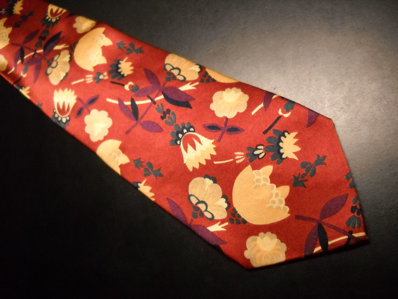 AKM Neck Tie Hand Made in Italy Silk Rusty Reds and Gold Flowers image 2