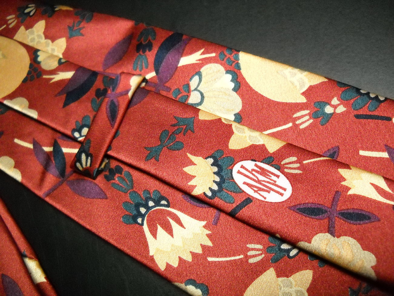 AKM Neck Tie Hand Made in Italy Silk Rusty Reds and Gold Flowers image 3