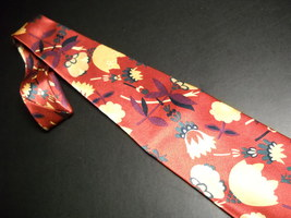 AKM Neck Tie Hand Made in Italy Silk Rusty Reds and Gold Flowers image 5