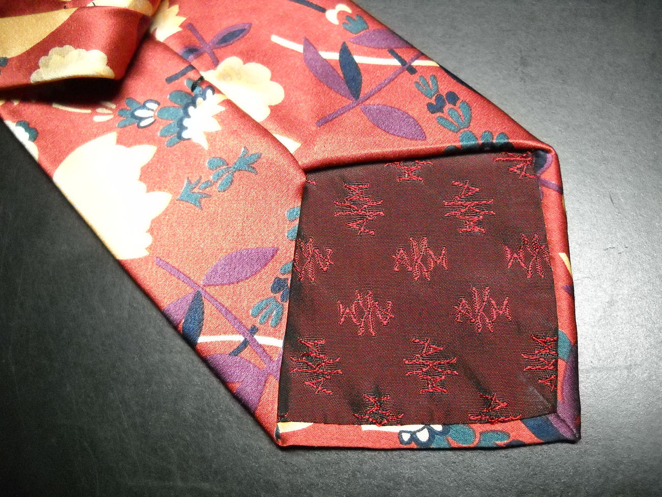 AKM Neck Tie Hand Made in Italy Silk Rusty Reds and Gold Flowers image 6