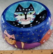 Cat Food Bowl Water Dish Milson And Louis Hand Painted Crazy Cat Lady Ho... - $25.62