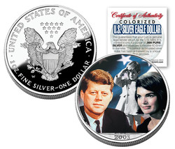 JOHN F KENNEDY 2003 American Silver Eagle Dollar Colorized Coin JACKIE/J... - $45.49