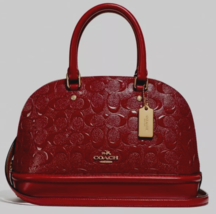 New Coach 27597 mini Sierra Domed Satchel Embossed Patent Leather Cherry - $129.00
