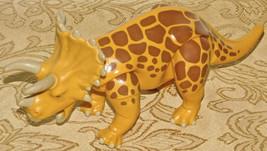 "PLAYMOBIL YELLOW & BROWN TRICERATOPS DINOSAUR 9"" 4170 RARE Toy - $13.42"
