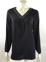 Apt 9 Womens Top Size Small Purple Long Sleeve Blouse Rhinestone Neckline - $14.84