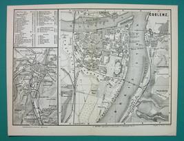 1884 MAP Baedeker - GERMANY Coblenz Koblenz - $16.20