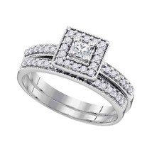 10kt White Gold Princess Diamond Square Halo Bridal Wedding Engagement Ring Set - $568.01