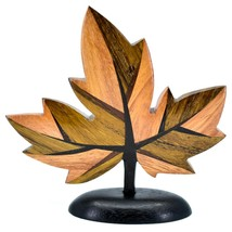 Northwoods Handmade Wooden Parquetry Canadian Maple Leaf Sculpture Figurine image 1