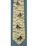 Men's Museum Artifacts Necktie Music Masters Composers Piano Silk Beige ... - $39.55