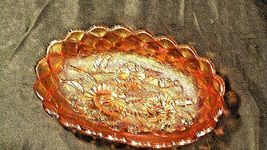 Vintage orange oval Carnival Glass with flower and diamond pattern AA19-CD0018 image 8