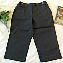 Talbots Cropped Capri Pants Sz 10 P Petite Stretch Black Spring Side Zip... - $13.71