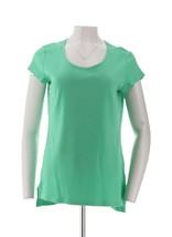 Isaac Mizrahi Live! Essentials Chic Shirt Tail Hem Tunic Spearmint S NEW... - $22.75