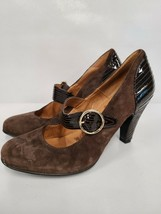 Sofft Womens Mary Jane Pumps Size 10 Brown Leather Upper Heels Suede High Heels - $30.99