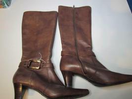 Anne Klein Brown Heel Tall Knee High Leather Boots 065M IFlex Sole - $23.74