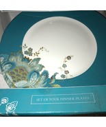 222 FIFTH Eliza Teal Blue Gold Paisley Dinner Plates Set 8~NEW ~ - $60.00